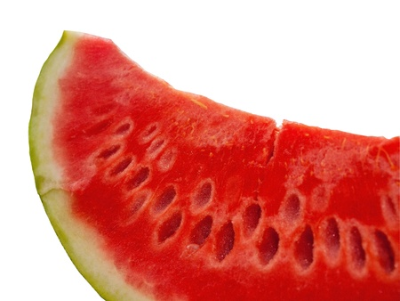Slice of watermelon close up isolated on white background
