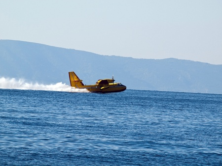 hydroplane: Hydroplane landing at blue sea