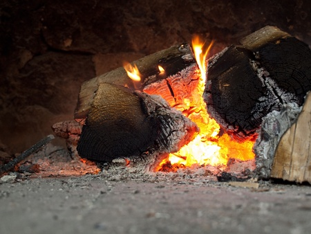 Colorful fireplace close up Stock Photo - 13544276