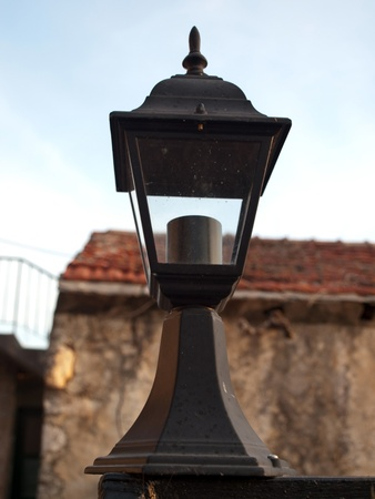 Picture present street lamp in old village Stock Photo