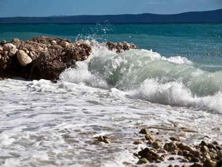 Beautiful coast with view on island Hvar in Croatia