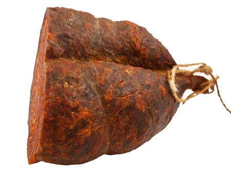 peppery: Croatian peppery ham isolated on white background