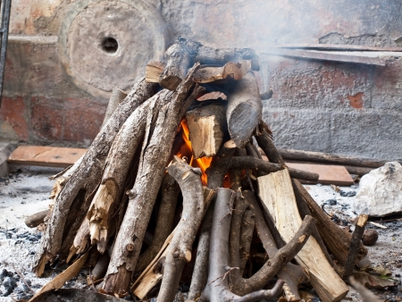 outdoor fireplace: Image shows a fireplace background in old village outdoor Stock Photo