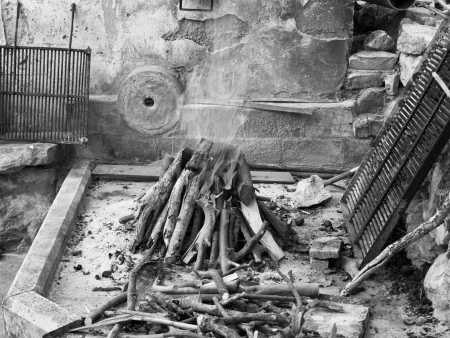 Traditional fireplace in old Dalmatian village black and white Stock Photo - 15551436