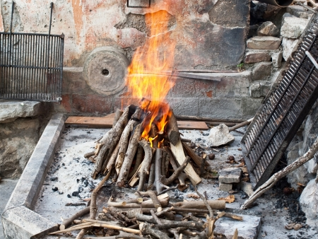 Traditional fireplace in a old Croatian village Stock Photo - 15551439