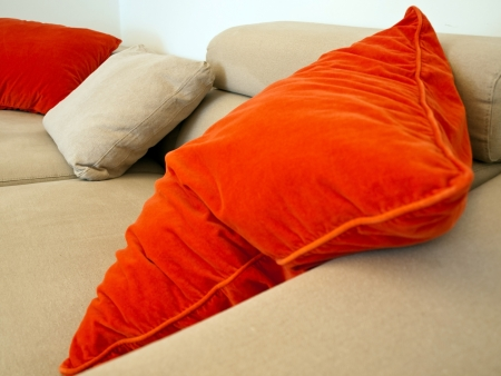 gorgeus: Image shows a gorgeus sofa with colorful pillows in livingroom Stock Photo