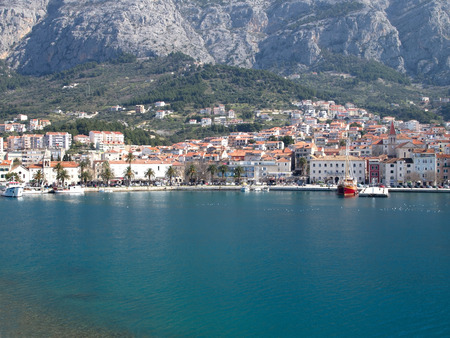 View at mediterranean city of Makarska from the sea
