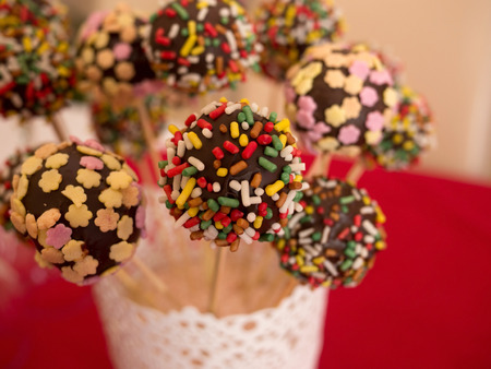 blured: Colorful chocolate cakepops with blured background