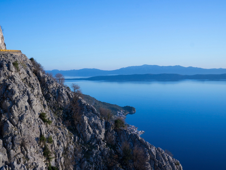 View from high mountain road to the calm blue Adriatic sea