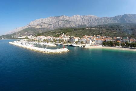Landscape view to small city Tucepi in Croatia Stock Photo