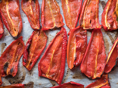 Grilled spicy red peppers top view Stock Photo