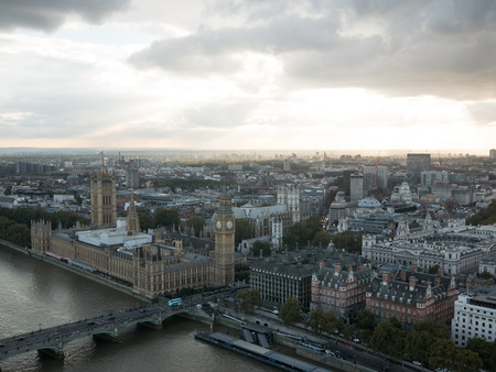 Westminster  aerial view above Thames river