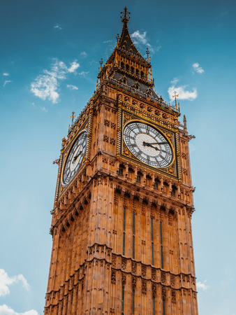 Famous Big Ben clock on Westminster palace in London, UK