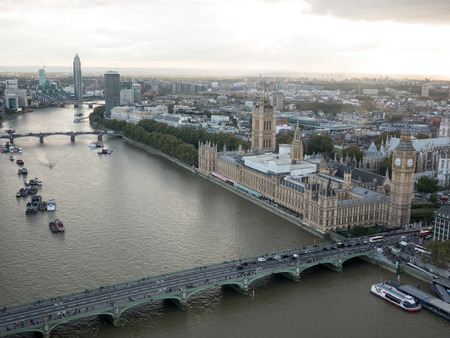 London cityscape near Westminster palace aerial view