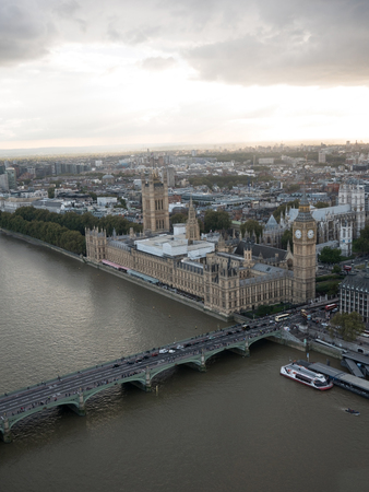House of parliament in London and Big Ben aerial view Editorial