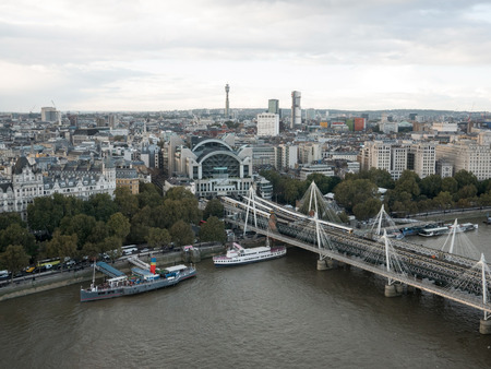 Hungerford bridge and London city aerial view