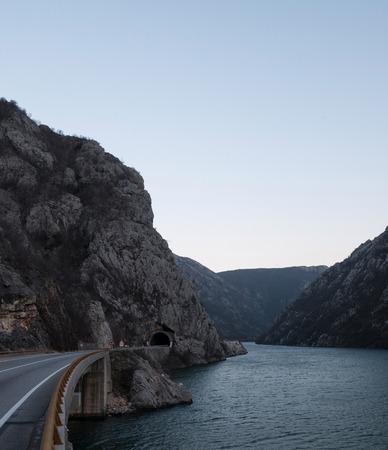 Road near canyon of Neretva river in Bosnia and Herzegovina Stock Photo