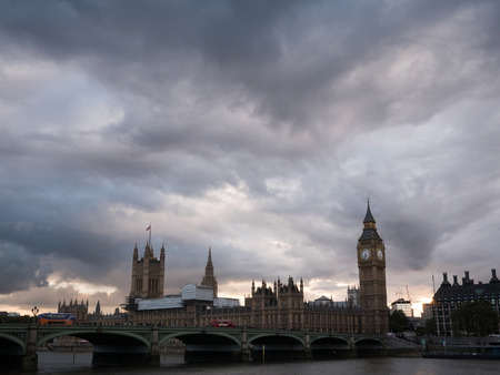Cloudy scene of Westminster palace from Thames river