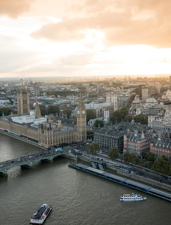 Aerial view of Westminster palace at sunset Editorial