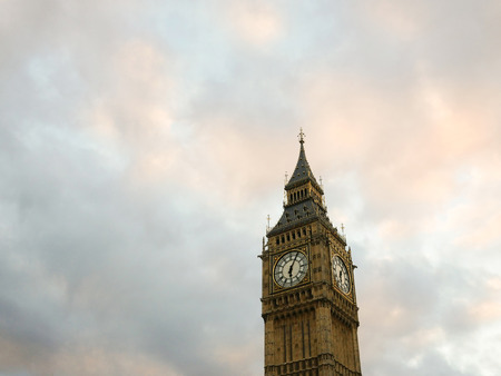 Famous Big Ben clock tower on Westminster palace Stock Photo