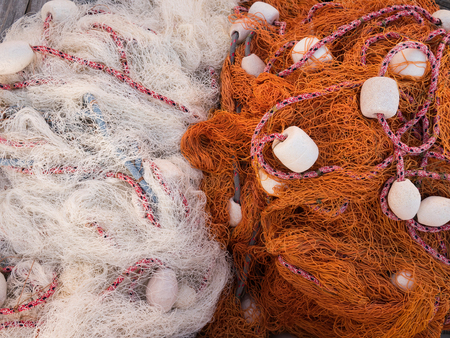 Two colorful fishing nets top view