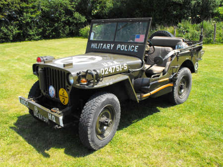Normandy, France - June 3, 2009: Willys MB at the Batterie dAzeville during 65th D-Day celebrations.