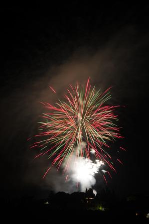 patron: Saint Romolo patron. Fireworks at Fiesole, Italy. 06-07-2015 Stock Photo
