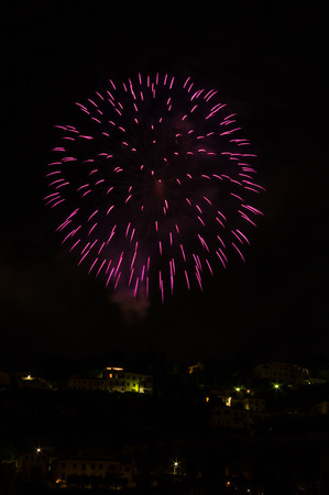 patron of europe: Saint Romolo patron. Fireworks at Fiesole, Italy. 06-07-2015 Stock Photo