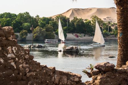 나일강에 Felluca입니다. 이집트 스톡 콘텐츠