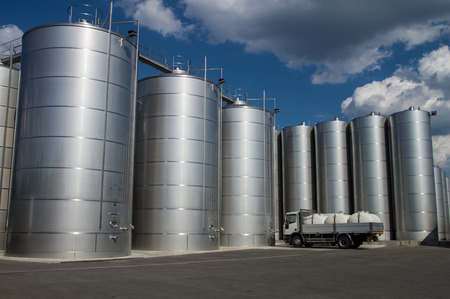 Silos in tuscany, for wine and cereal storage Stock Photo
