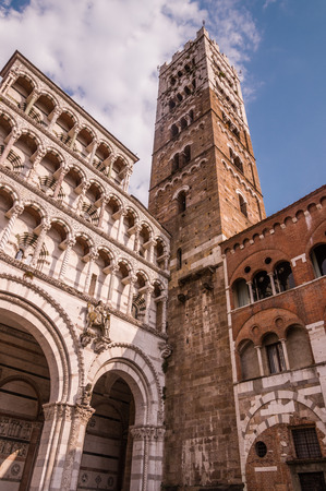 campanile: Lucca cathedral with campanile. Tuscany, Italy
