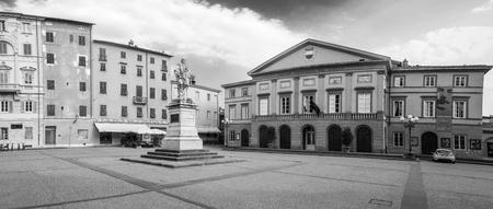 lucca: Lucca, main square (Garibaldis square). Tuscany, Italy Editorial