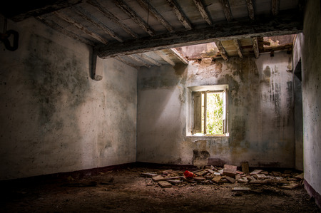 halloween ghost: Abandoned house in Toiano, little ghost town in Tuscany, Italy Stock Photo