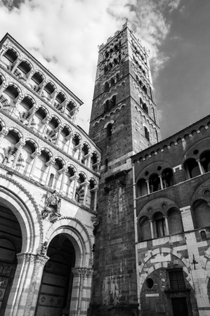 the campanile: Lucca cathedral with campanile. Tuscany, Italy