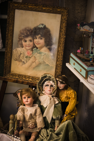 dollhouse: Isle sur la Sorgue, France - September 2015 - Private old dolls collection in a museum. France, 2015 Editorial