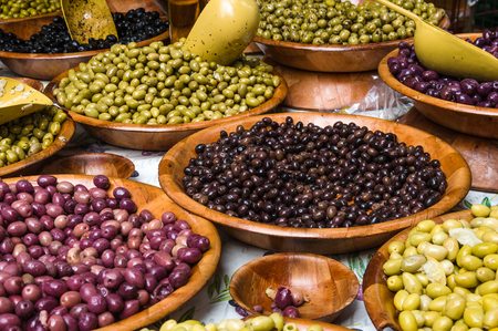 Assortment of olives on market in Provence, France