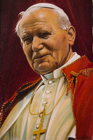 painted image: Assisi, Italy - October 2015 -  a painted image of pope John Paul II, 2015.
