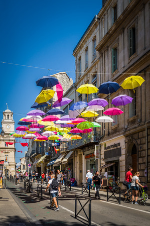 arles: Street decorated with colored umbrellas at Arles, Provence. France