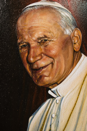 Assisi, Italy - October 2015 -  a painted image of pope John Paul II, 2015.