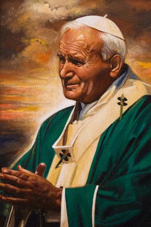 アッシジ, イタリア - ローマ法王ヨハネ ・ パウロ二世をイメージした塗装 2015 年 10 月 - 2015.