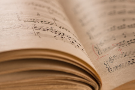 music notation: Close up of piano classic music score and notes and old paper Stock Photo