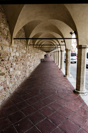 assisi: Portico of St. Francesco Basilica in Assisi. Umbria, Italy