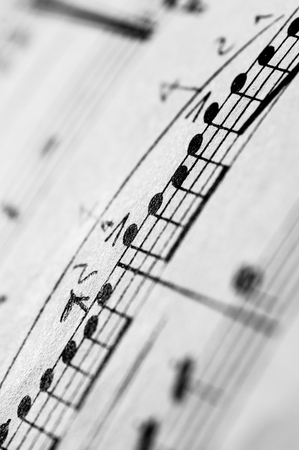 music score: Close up of piano classic music score and notes and old paper Stock Photo