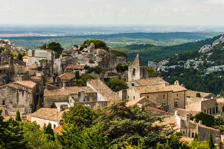 les: Les Baux de Provence village on the rock formation and its castle.  Provence, France