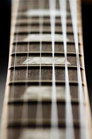 fingerboard: Close up image of electric guitar fingerboard Stock Photo