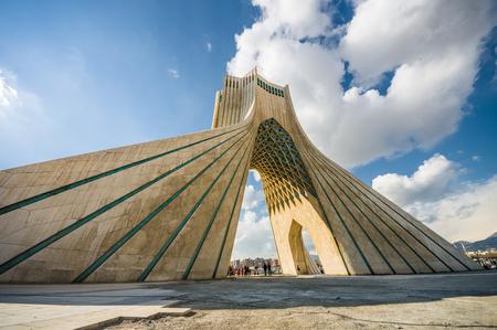 iran: Teheran, Iran - February 2016 - Azadi Tower, one ofe the most important monument in Teheran on winter. Iran, 2016 Editorial