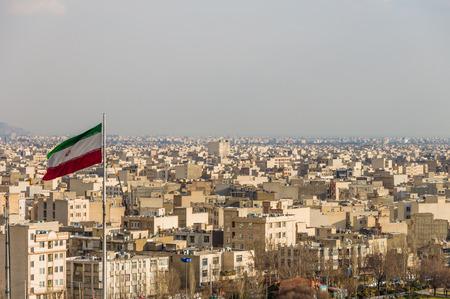 iran: Tehran skyline during revolution day anniversary. Iran, 2016