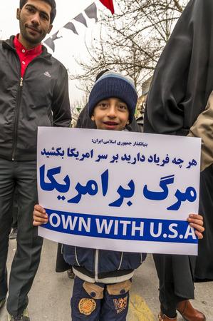 manifestation: Esfahan, Iran - February 2016 - Annual Revolution day manifestation on the street of Esfahan for celebrate Islamic republic. Iran, 2016
