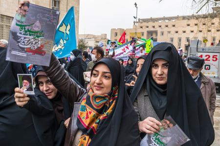 Esfahan, Iran - Febbraio 2016 - Rivoluzione Annual giorno manifestazione sulla strada di Esfahan per celebrare repubblica islamica. Iran, 2016