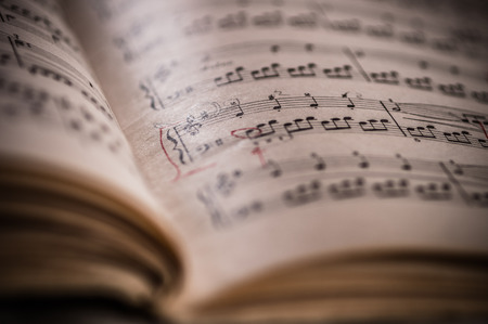 Close up of piano classic music score and notes and old paper